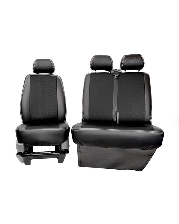 Bench Front Seat Covers Black Sides Grey Diamond Centre and Stitching
