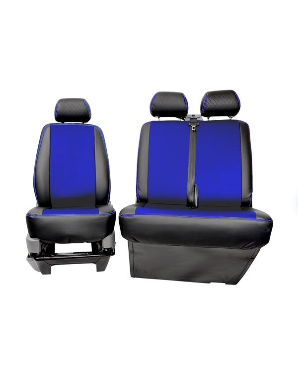 Bench Front Seat Covers Black Sides Blue Diamond Centre and Stitching