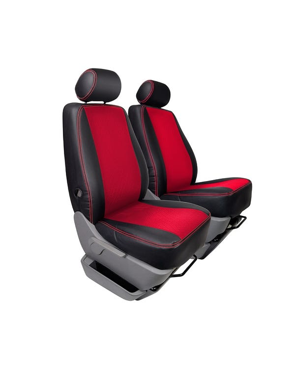 Single Front Seat Covers Black Sides Red Diamond Centre and Stitching