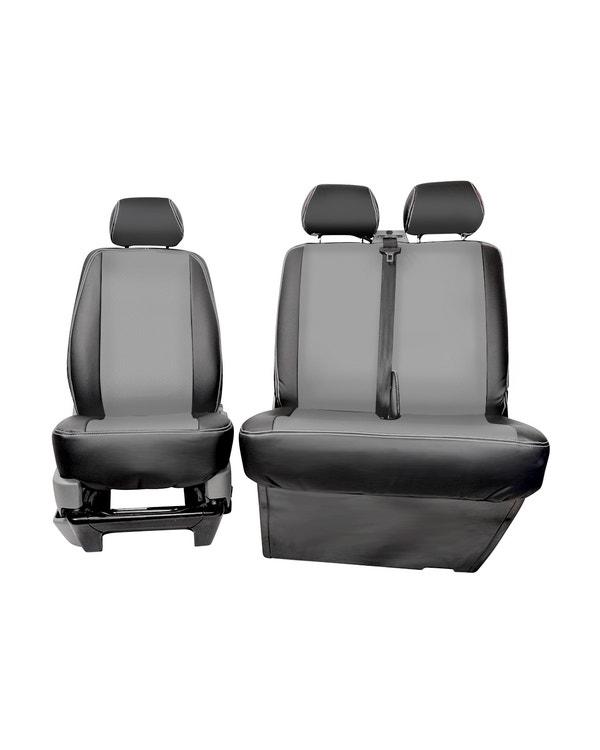 Vordersitzbezug, Einzelsitz und Bank, mittig grau mit schwarzen Seiten und grauen Nähten