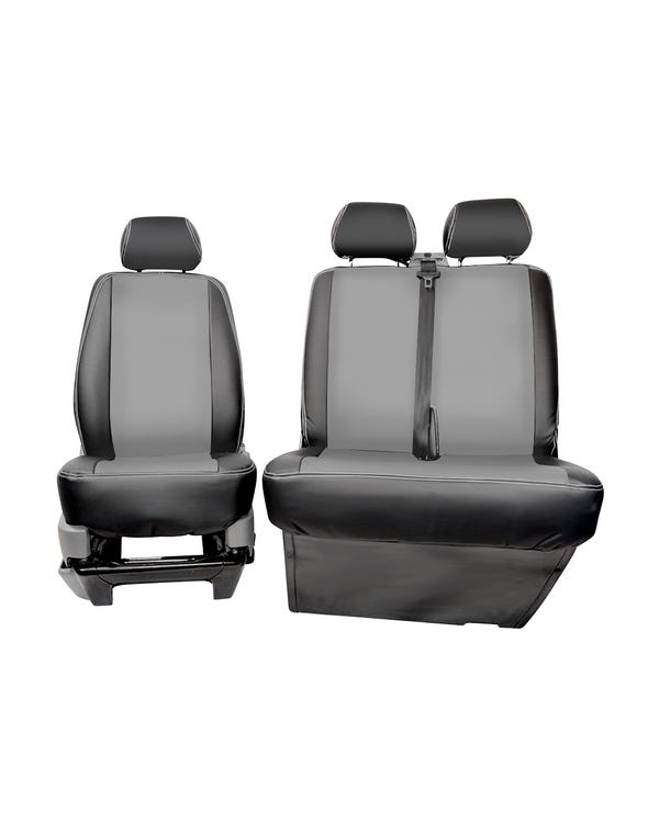 Bench Front Seat Covers Black Sides Grey Centre and Stitching