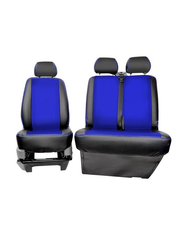 Vordersitzbezug, Einzelsitz und Bank, mittig blau mit schwarzen Seiten und blauen Nähten