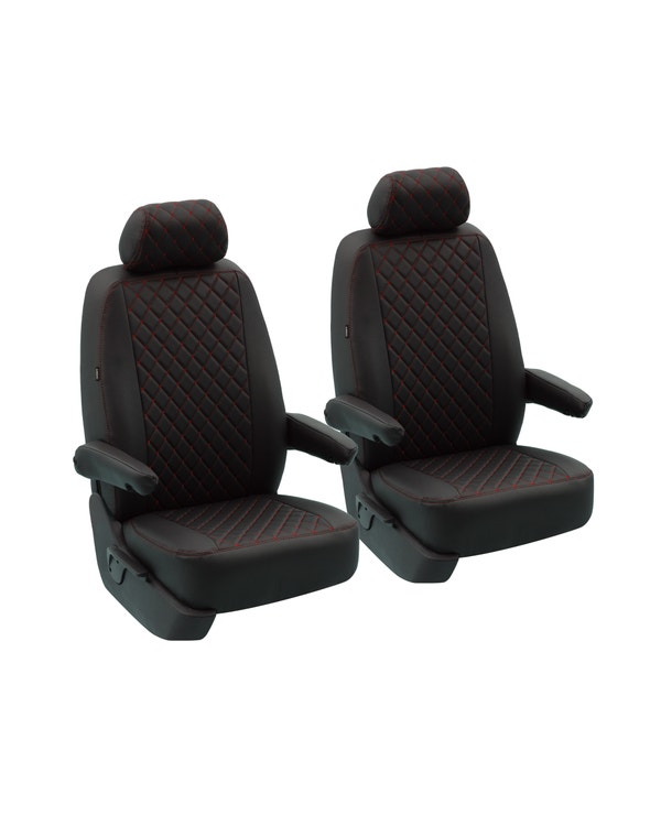 Front Seat Covers for 1+1 Configuration, Black Diamond with Red Stitch