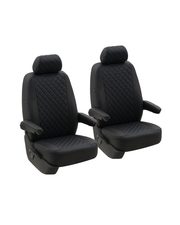 Front Seat Covers for 1+1 Configuration, Black Diamond with Blue Stitch
