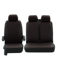 Front Seat Covers for 2+1 Configuration, Black Diamond with Red Stitch
