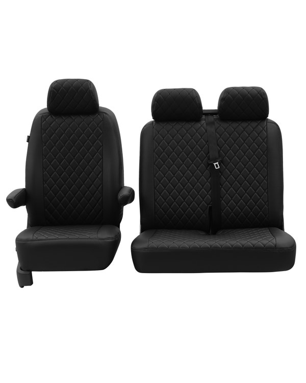 Front Seat Covers for 2+1 Configuration, Black Diamond with Black Stitch