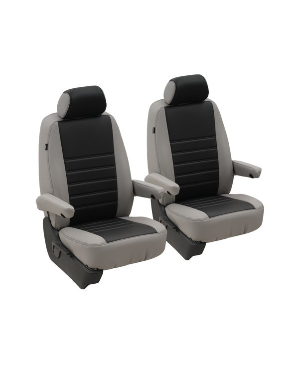 Front Seat Covers for 1+1 Configuration, Perforated Black Centre with Plain Grey Sides