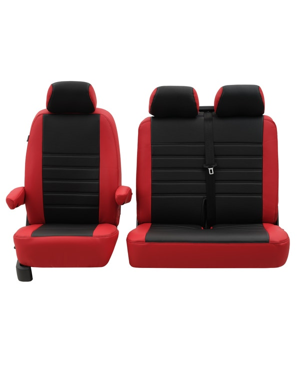 Front Seat Covers for 2+1 Configuration, Perforated Black Centre with Plain Red Sides