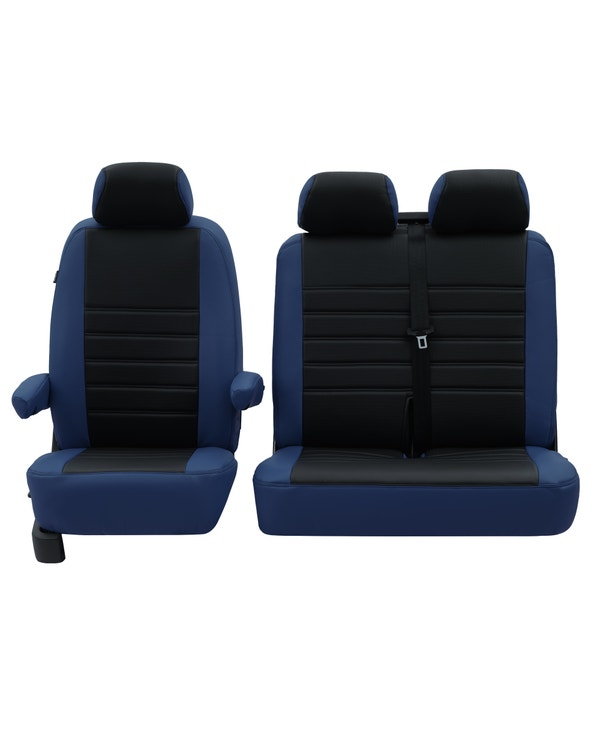 Front Seat Covers for 2+1 Configuration, Perforated Black Centre with Plain Blue Sides