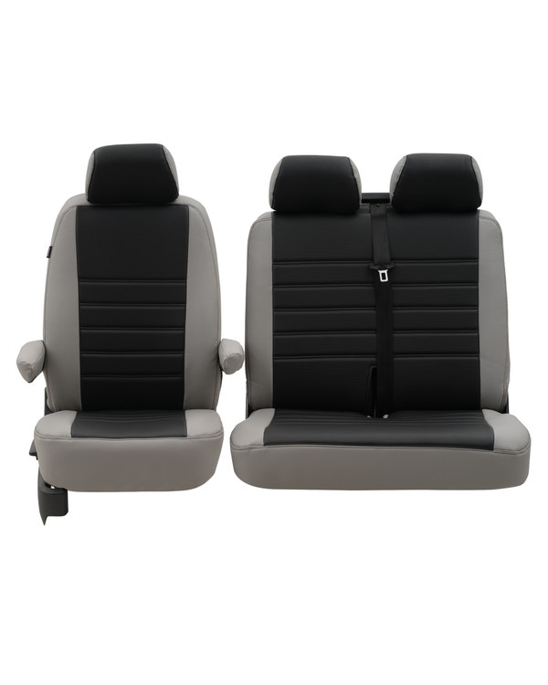Front Seat Covers for 2+1 Configuration, Perforated Black Centre with Plain Grey Sides