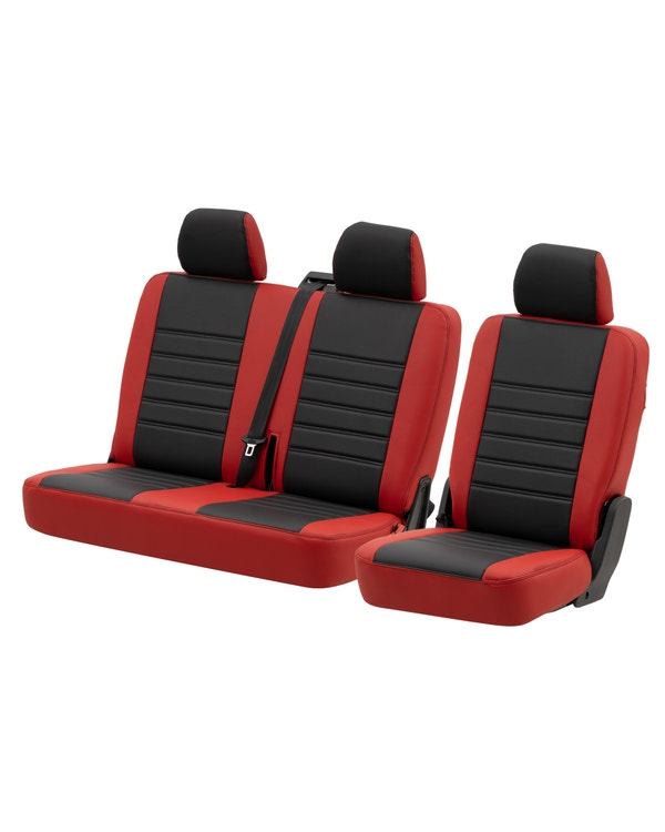 Rear Seat Covers for 2+1 Configuration, Perforated Black Centre with Plain Red Sides