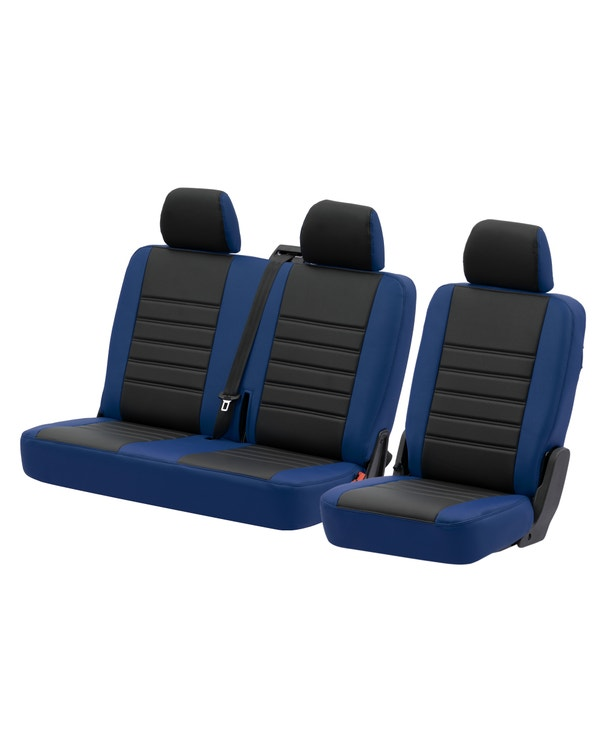 Rear Seat Covers for 2+1 Configuration, Perforated Black Centre with Plain Blue Sides