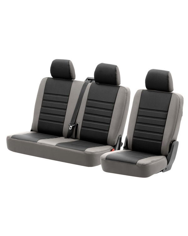 Rear Seat Covers for 2+1 Configuration, Perforated Black Centre with Plain Grey Sides