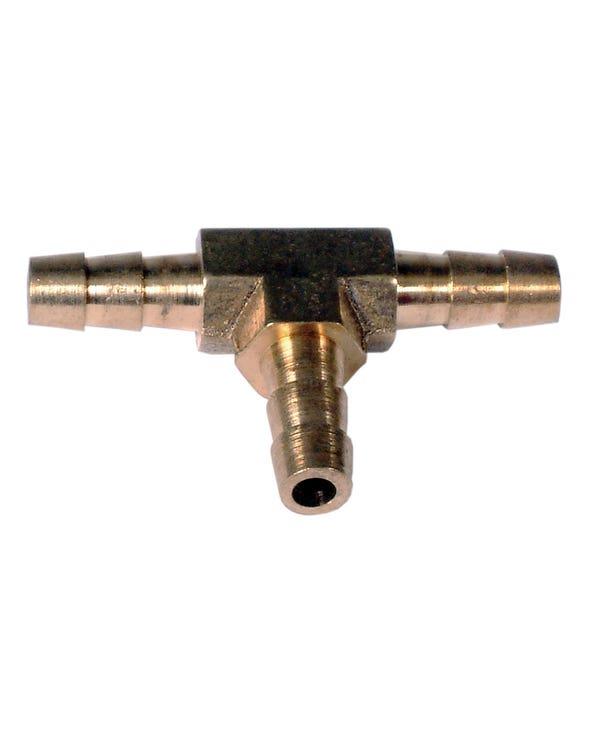 Fuel Hose T-Piece 1/4''-6mm Brass
