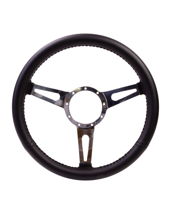 SSP 3-Slot Black Leather Steering Wheel. 380mm 9 Bolt