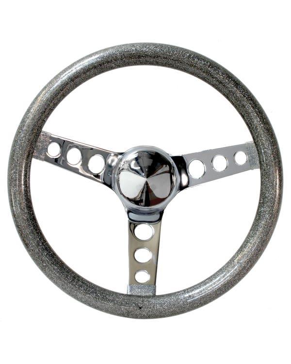 Steering Wheel 10'' Silver Metal Flake for 3 Bolt Boss