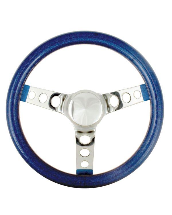 Steering Wheel 11.5'' Blue Metal Flake for 3 Bolt Boss