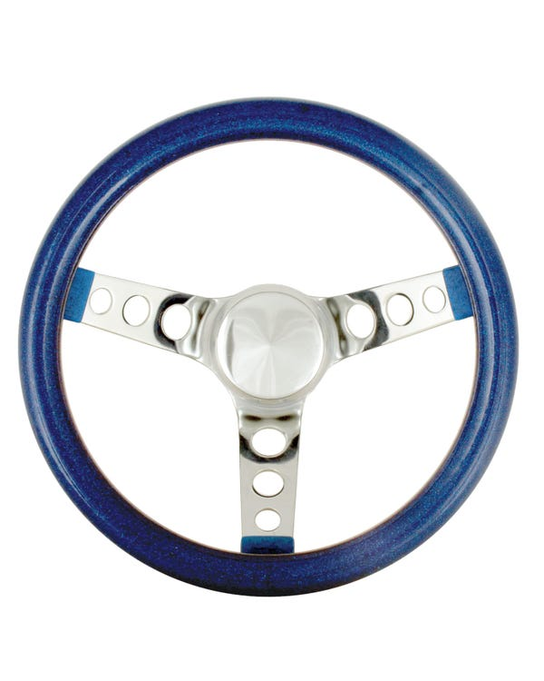 Steering Wheel 11.5'' Blue Metal Flake for 3 Bolt Boss