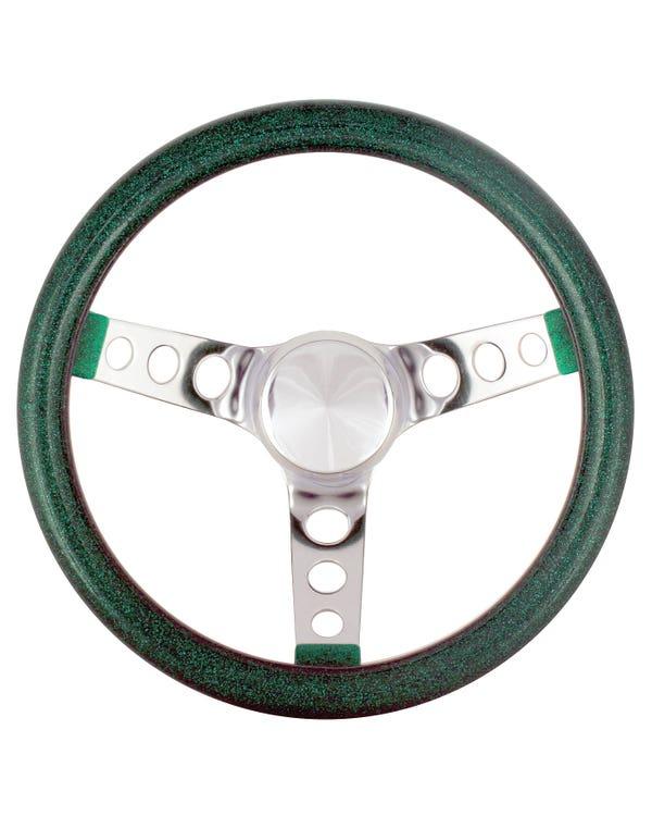 Steering Wheel 11.5'' Green Metal Flake for 3 Bolt Boss