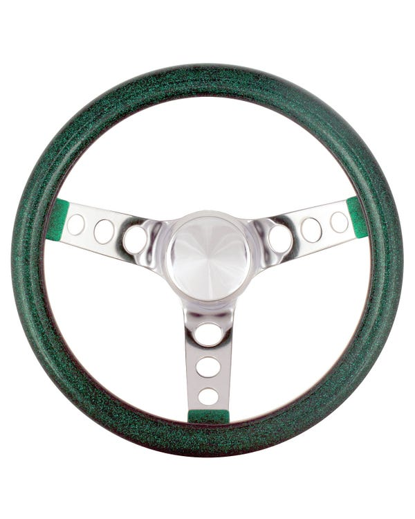 Steering Wheel 11.5'' Green Metal Flake for 3 Bolt Boss