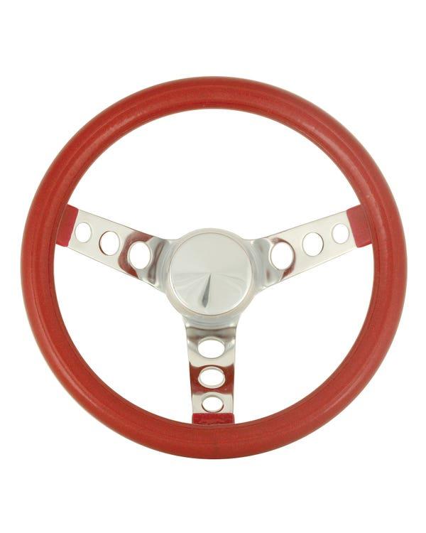 Steering Wheel 11.5'' Red Metal Flake for 3 Bolt Boss