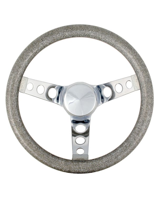 Steering Wheel 11.5'' Silver Metal Flake for 3 Bolt Boss