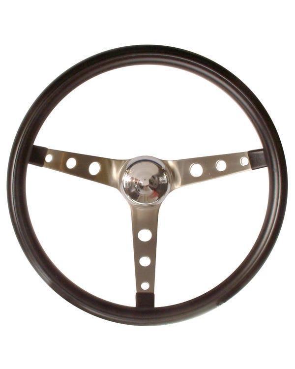 Grant Steering Wheel Three Spoke with Holes Black 15in