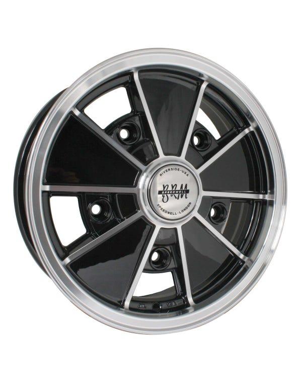 "SSP BRM Alloy Wheel Gloss Black 5x15"", 5/205 PCD, 3.55"" BS"