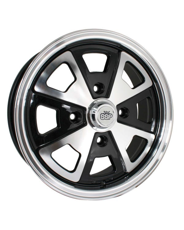 """SSP 914 Style Alloy Wheel Black and Polished 5.5x15'', 4/130 PCD, 4.63"""" BS"""