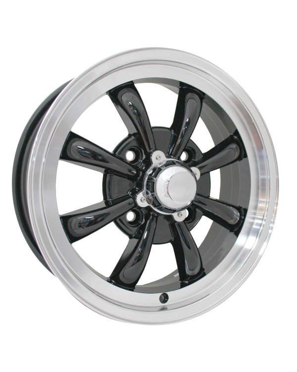 """SSP GT 8 Spoke Alloy Wheel Black and Polished 5.5x15"""", 4/130 PCD, ET30"""