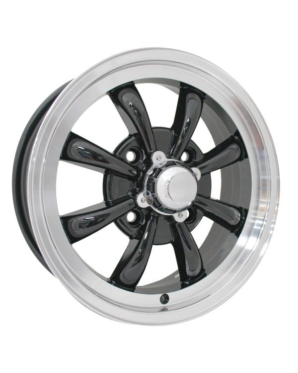 "SSP GT 8 Spoke Alloy Wheel Black and Polished 5.5x15"", 4/130 PCD, ET30"