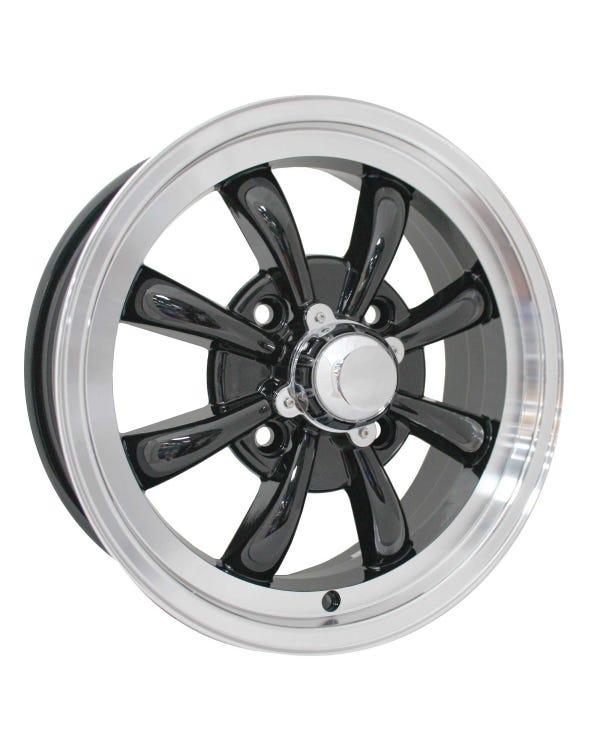 SSP GT 8 Spoke  Alloy Wheel Black and Polished 5.5Jx15'' '' 4x130 Stud Pattern ET30