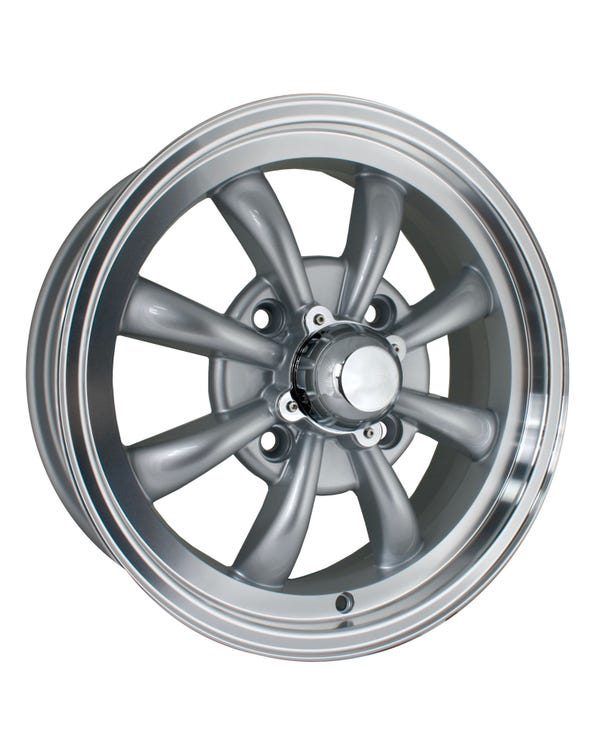 """SSP GT 8 Spoke  Alloy Wheel Silver Polished 5.5x15"""", 4/130 PCD, 4.43"""" BS"""