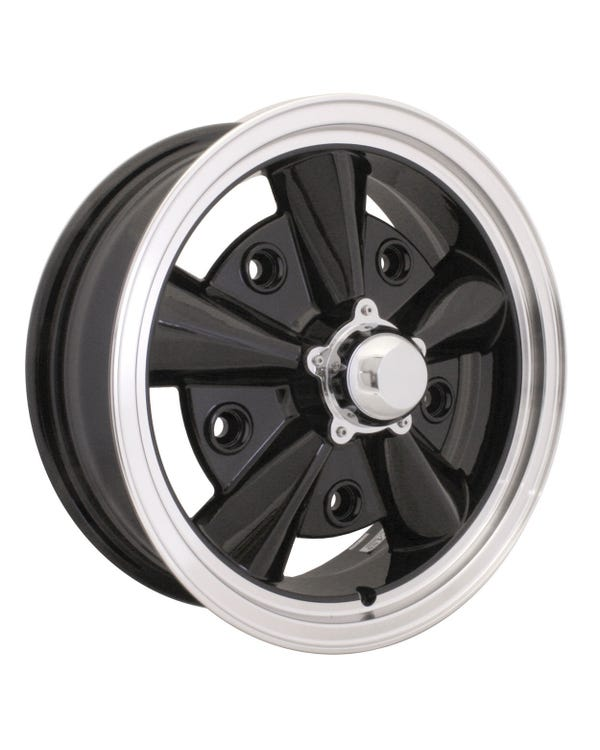 "SSP Crest Alloy Wheel, Black/Polish Lip, 5.5Jx15"" 5x205 Stud Pattern"