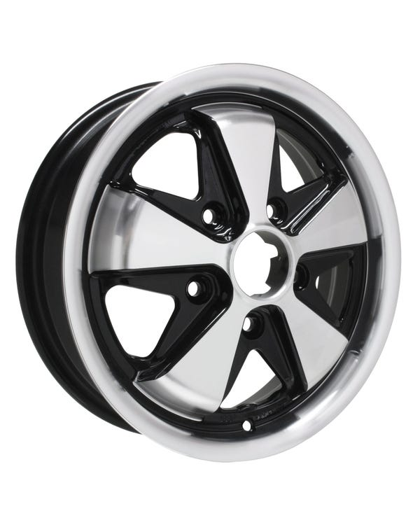 "SSP Fooks Alloy Wheel Black and Polished, 4.5x15"", 5/130 PCD, ET45"