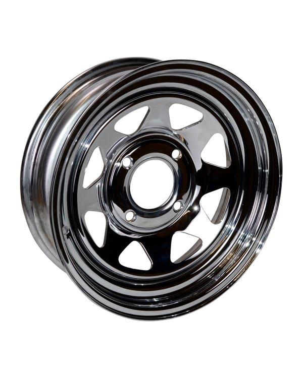 "8 Spoke Chrome Plated Steel Buggy Wheel 5x15'', 4/130 PCD, 2.5"" BS"