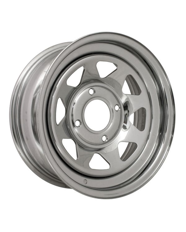 "8 Spoke Chrome Plated Steel Buggy Wheel 6x15'', 4/130 PCD, 3.75"" BS"