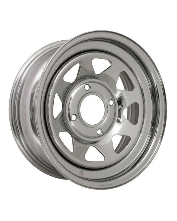 "8 Spoke Chrome Plated Steel Wheel 8x15"", 4/130 PCD, 3.5"" BS"
