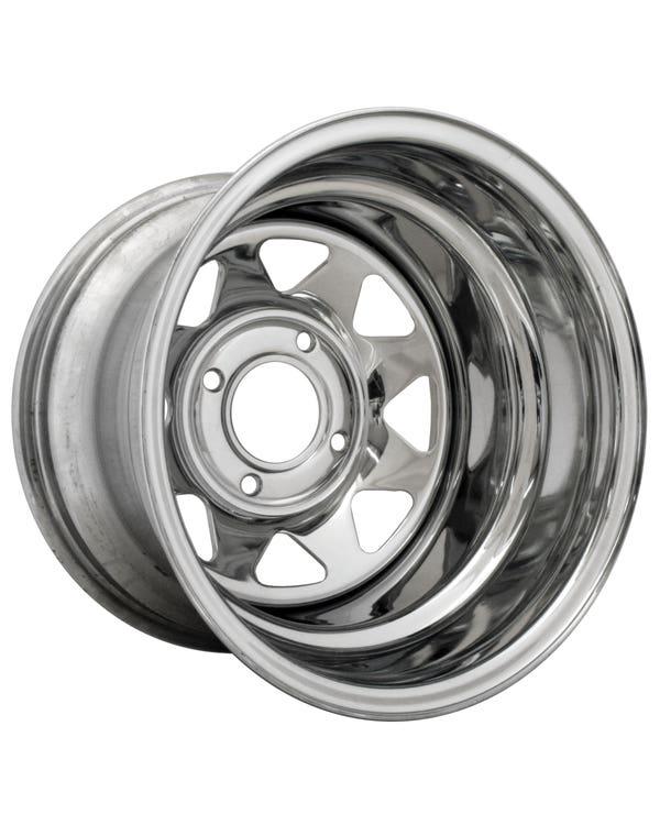 "8 Spoke Chrome Plated Steel Wheel 10x15'', 4/130 PCD, 3.5"" BS"