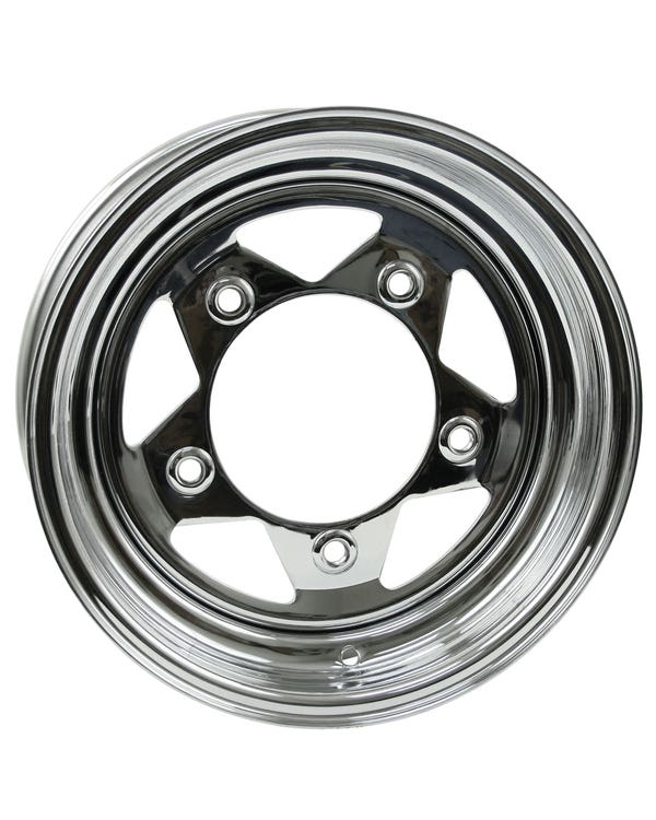 "5 Spoke Chrome Plated Steel Wheel 5x15'', 5/205 PCD, 3.5"" BS"