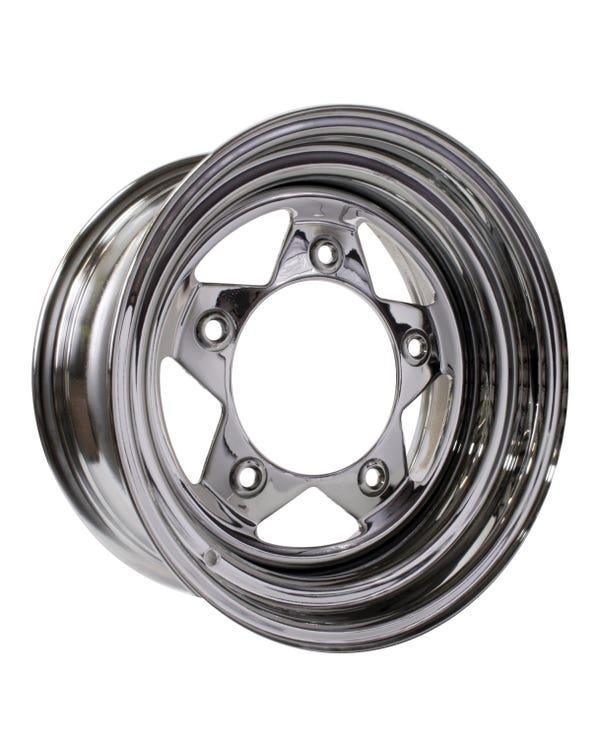 "5 Spoke Chrome Steel Buggy Wheel 7x15'', 5/205 PCD, 3.5"" BS"