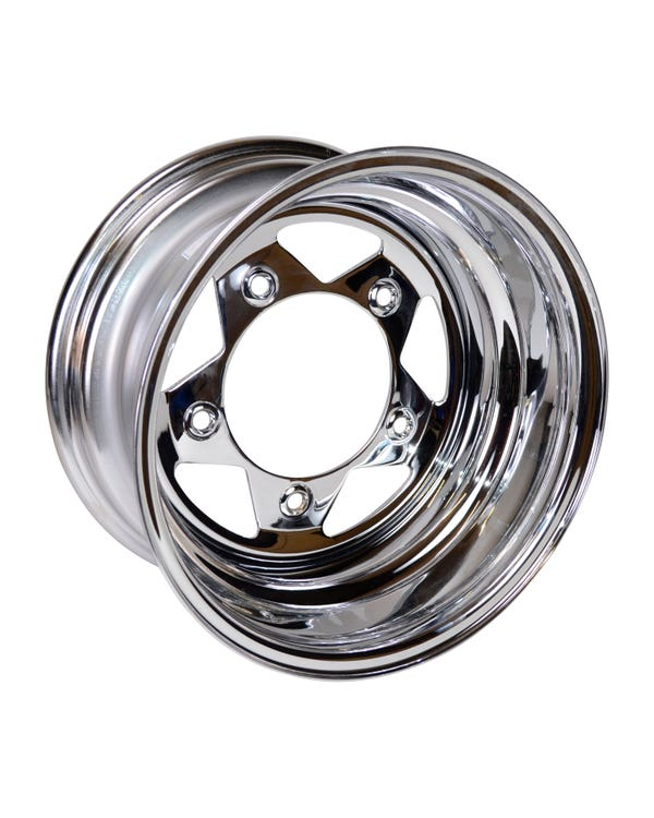 "Chrome Steel Buggy Wheel 8x15'', 5/205 PCD, 3"" BS"