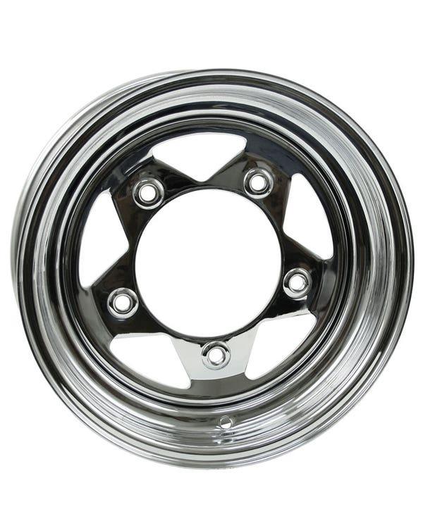 "5 Spoke Chrome Steel Buggy Wheel 10x15"", 5/205 PCD, 3.50"" BS"