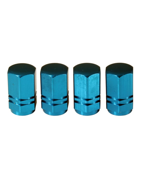Blue Alloy tire Valve Caps Set of 4