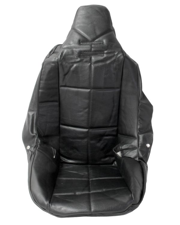 High Back Seat Cover Black Vinyl with Black Square Pattern Insert Universal