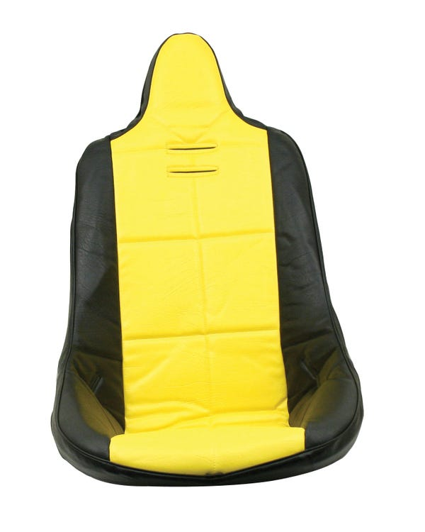 High Back Seat Cover Black Vinyl with Yellow Square Pattern Insert Universal