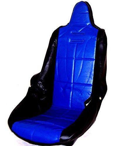 High Back Seat Cover Black Vinyl with Blue Square Pattern Insert Universal