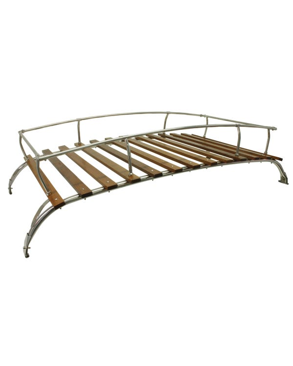 Roof Rack 2 Bow in Stainless Steel with Wooden Slats