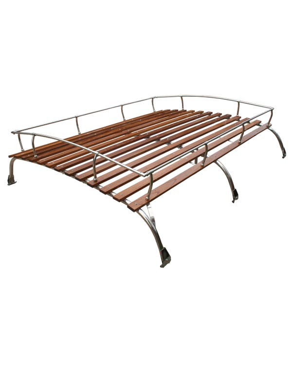 Roof Rack 3 Bow in Stainless Steel with Wooden Slats