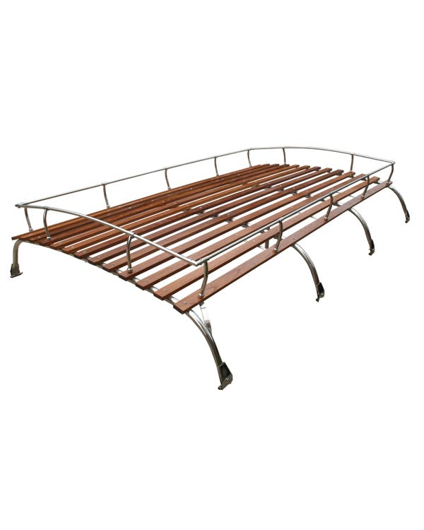 Roof Rack 4 Bow in Stainless Steel with Wooden Slats